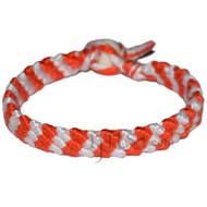 Orange and Snow white bamboo Yarn Diagonal Surfer Bracelet or Anklet