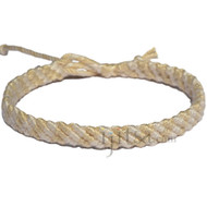 Snow white  and Wheat Bamboo Yarn Diagonal Surfer Bracelet or Anklet