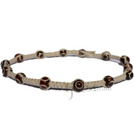 Natural flat hemp necklace with throughout dark brown bone beads