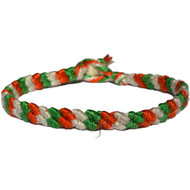 Thin tangerine, Algae green and Pearl cotton diagonal bracelet or anklet