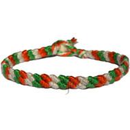 Thin tangerine, Algae green and Pearl cotton diagonal bracelet or anklet