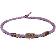 Lilac twisted hemp necklace with ceramic Swirl bead