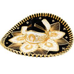 Sombrero Charro Adulto Flor  -  N-O  -  RRIMP-FLOR-N-O