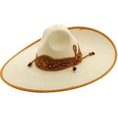 Twinstone Sombrero Charro - Plano Palma Blanca Toquilla Greca - RRTWI-91432
