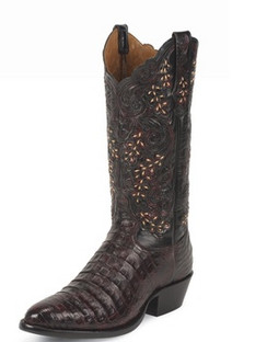 Tony Lama Men Boots - Signature Series - Black Cherry Belly Antique Caiman - 1002