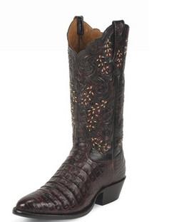 Tony Lama Men Boots - Signature Series - Black Cherry Belly Antique Caiman - 1002