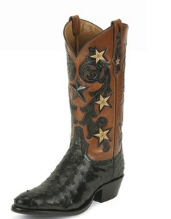 Tony Lama Men Boots - Signature Series -Black Cowboy Classsic Ostrich - 1004