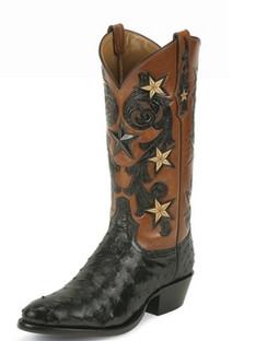 Tony Lama Men Boots - Signature Series -Black Cowboy Classsic Ostrich - 1004