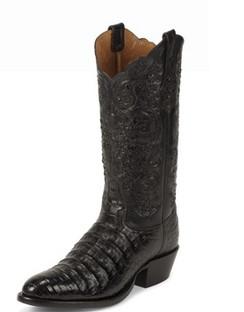 Tony Lama Men Boots - Signature Series - Black Belly Antique Caiman - 1001