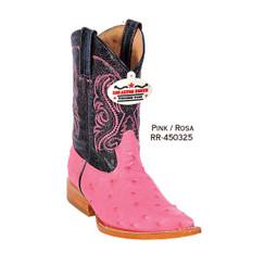 Los Altos Kid Boots - Ostrich - 3X Toe - Pink - RR-450325
