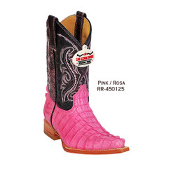 Los Altos Kid Boots - Caiman Tail - 3X Toe - Pink - RR-450125