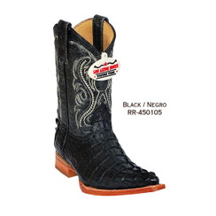Los Altos Kid Boots - Caiman Tail - 3X Toe - Black - RR-450105