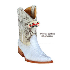 Los Altos Kid Boots - Caiman Tail - 3X Toe - White - RR-450128