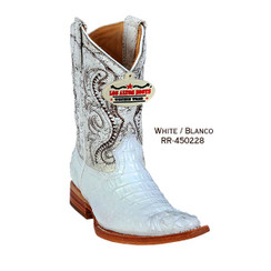 Los Altos Kid Boots - Horback Caiman - 3X Toe - White - RR-450228