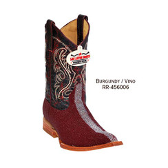 Los Altos Kid Boots - Stingray - 3X Toe - Burgundy