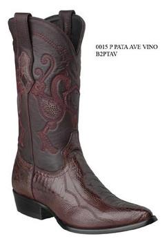 Cuadra Boots - Ostrich Leg - J Puntal - Burgundy - RRB2PTAVBG