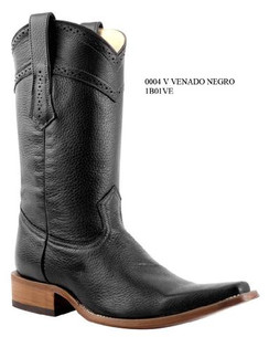 Cuadra Boots - Deer Leather - Versace Toe - Black - 	RR1B01VEBK