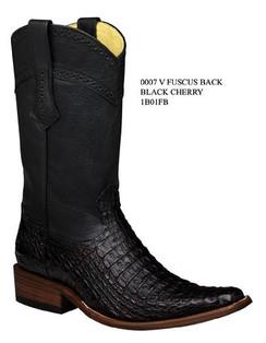 Cuadra Boots - Full Fuscus Caiman Belly - Versace Toe - Black Cherry - RR1B01FBBKCH