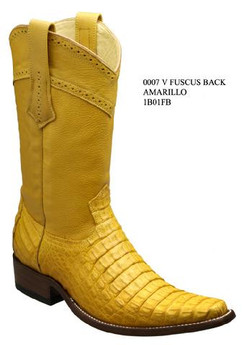 Cuadra Boots - Full Fuscus Caiman Belly - Versace Toe - Amarillo