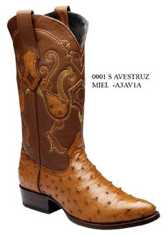 Cuadra Boots - Full Quill Ostrich Leather - Semi Oval - Honey