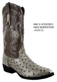 Cuadra Boots - Full Quill Ostrich Leather - Semi Oval - Serpentine Grey