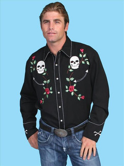 Scully Shirt - Black - P771(Skull/Roses)