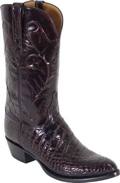 Lucchese Classics - American Alligator Belly Bias Cut - Black Cherry Brush Off