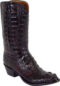 Lucchese Classics - American Alligator Hornback Head Cut - Black  Cherry Brush Off - RR-L1000