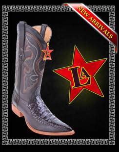 Los Altos Boots - 3x Toe - Caiman Belly with Deer - Brown