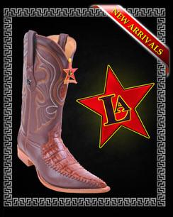 Los Altos Boots - 3x Toe - Caiman Belly with Deer - Cognac