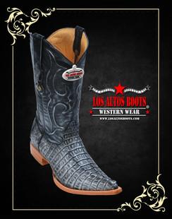 Los Altos Boots - 3x Toe - Caiman Tail - Black Silver