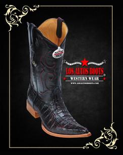 Los Altos Boots - 3x Toe - Caiman Tail - Black Cherry