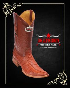 Los Altos Boots - 3x Toe - Caiman Tail - Cognac