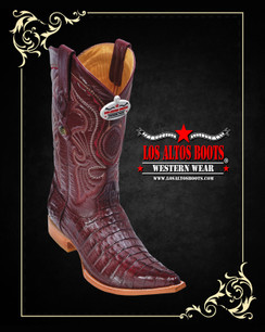 Los Altos Boots - 3x Toe - Caiman Tail - Burgandy