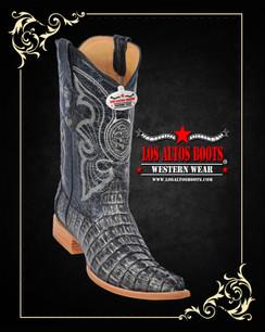 Los Altos Boots - 3x Toe - Caiman Tail - Rustic Black