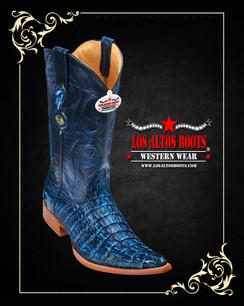 Los Altos Boots - 3x Toe - Caiman Tail - Rustic Blue