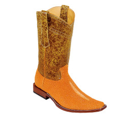 Wild West Boots - Fashion Square Toe - Stingray Rowstone Finish - Buttercup