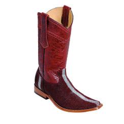 Wild West Boots - Fashion Square Toe - Stingray Rowstone Finish - Burgundy
