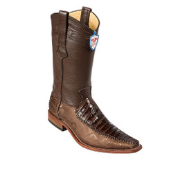 Wild West Boots - Fashion Square Toe - Caiman Belly with fabric- Brown