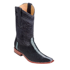 Wild West Boots - Fashion Square Toe - Rowstone Finish - Black