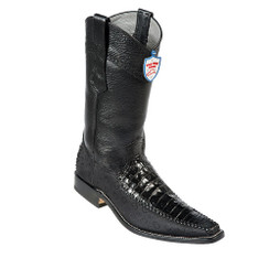 Wild West Boots - Fashion Square Toe - Caiman Belly with fabric- Black