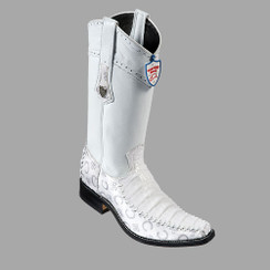 Wild West Boots - Fashion Square Toe - Caiman Belly with fabric- White