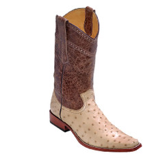 Wild West Boots - Fashion Square Toe Ostrich Leg - Oryx