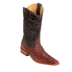 Wild West Boots - Fashion Square Toe Ostrich Leg - Brown