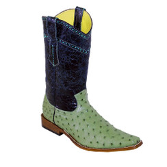 Wild West Boots - Fashion Square Toe Ostrich - Military Green