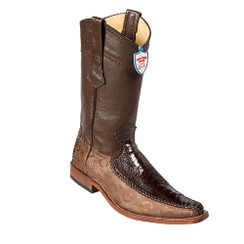Wild West Boots - Fashion Square Toe Ostrich Leg with Fabric - Brown
