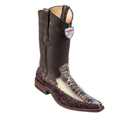 Wild West Boots - Fashion Square Toe Ostrich Leg with Fabric - Natural