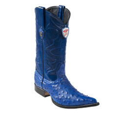 Wild West Boots - Ostrich - 3x Toe - Electric Blue