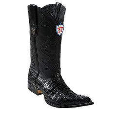 Wild West Boots - Caiman Tail - 3x Toe - Black