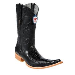 Wild West Boots - Ostrich Leg with Deer - 6x Toe - Black